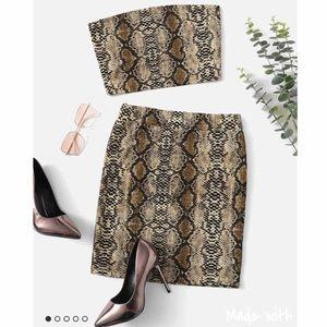 Dresses & Skirts - ✨Tan SnakeSkin 2 pc set bandeau & slim skirt✨S&M